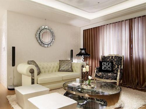 水晶珠帘 雕花玻璃界定空间 106㎡美式古典二居高贵优雅图片