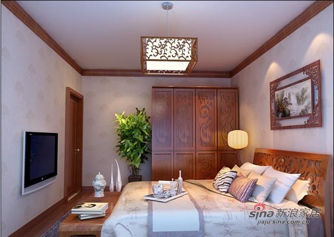 中式 三居 卧室图片来自用户1907658205在115平3居室新中式舒适爱家35的分享