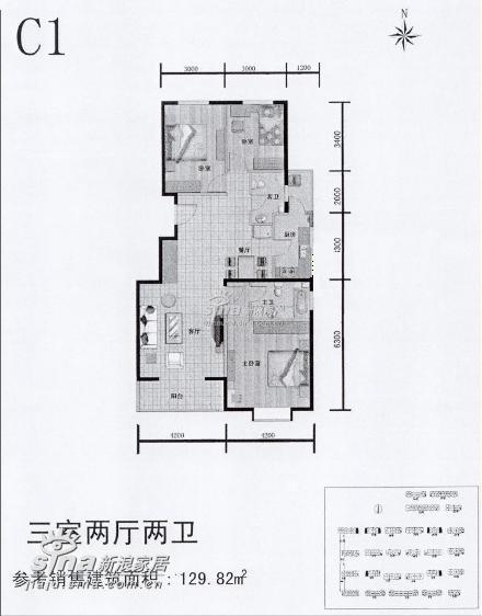 简约 三居 户型图图片来自用户2739153147在54290元精心打造125平米缤纷色彩的居家空间43的分享