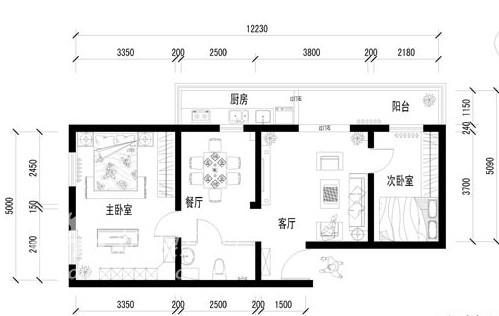 田园 三居 户型图图片来自用户2557006183在赵公口田园风格小三居52的分享