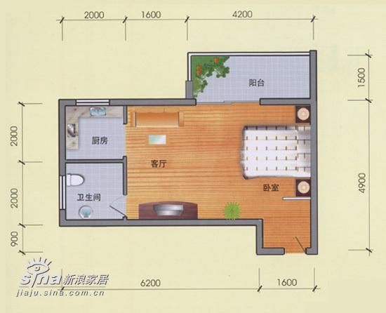 简约 一居 户型图图片来自用户2557010253在水星楼69的分享