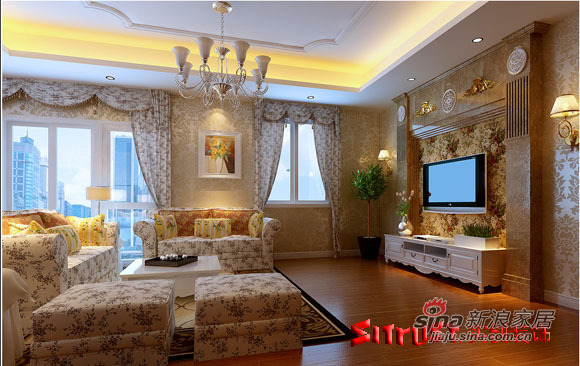 欧式 别墅 客厅图片来自用户2746869241在17万元演绎280平米的奢华欧式12的分享