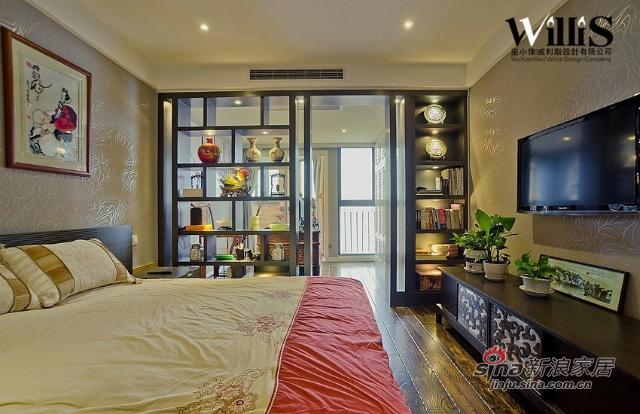 中式 跃层 卧室图片来自用户1907658205在250平新中式风 演绎不一样的《荷塘月色》12的分享