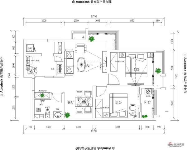 中原万达广场78平-平面布置图