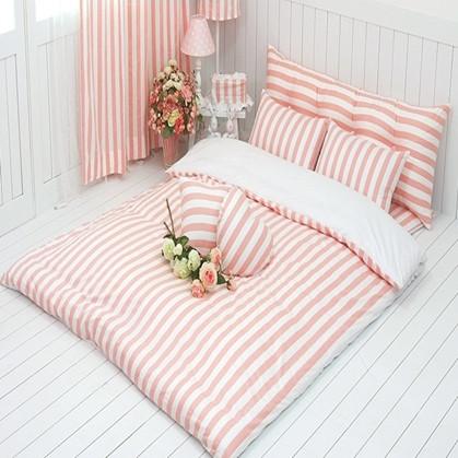 公主粉色条纹地板用四件套