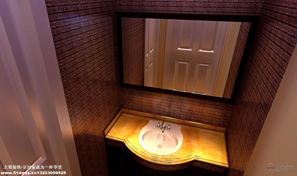 混搭田园风格家庭设计-洗手间设计效果图