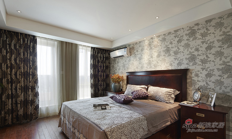 简约 三居 卧室图片来自装修微日记在【高清】9万装128平简约美式混搭居13的分享