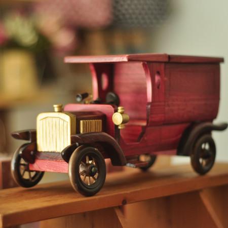 复古实木老爷车玩具模型