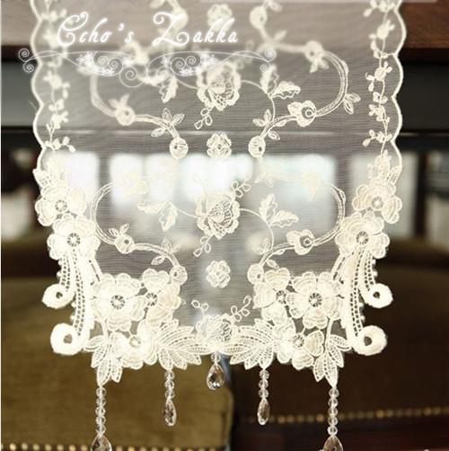 「echo house 」白色吊坠珠珠蕾丝 绣花透明 桌布 桌旗