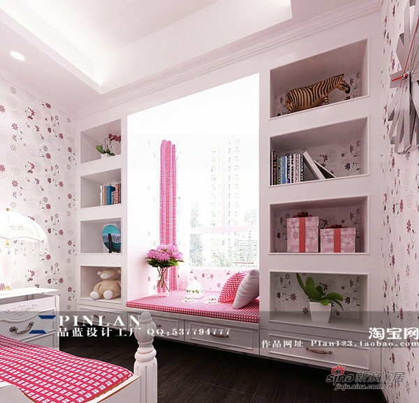 粉红调女孩房装饰柜设计