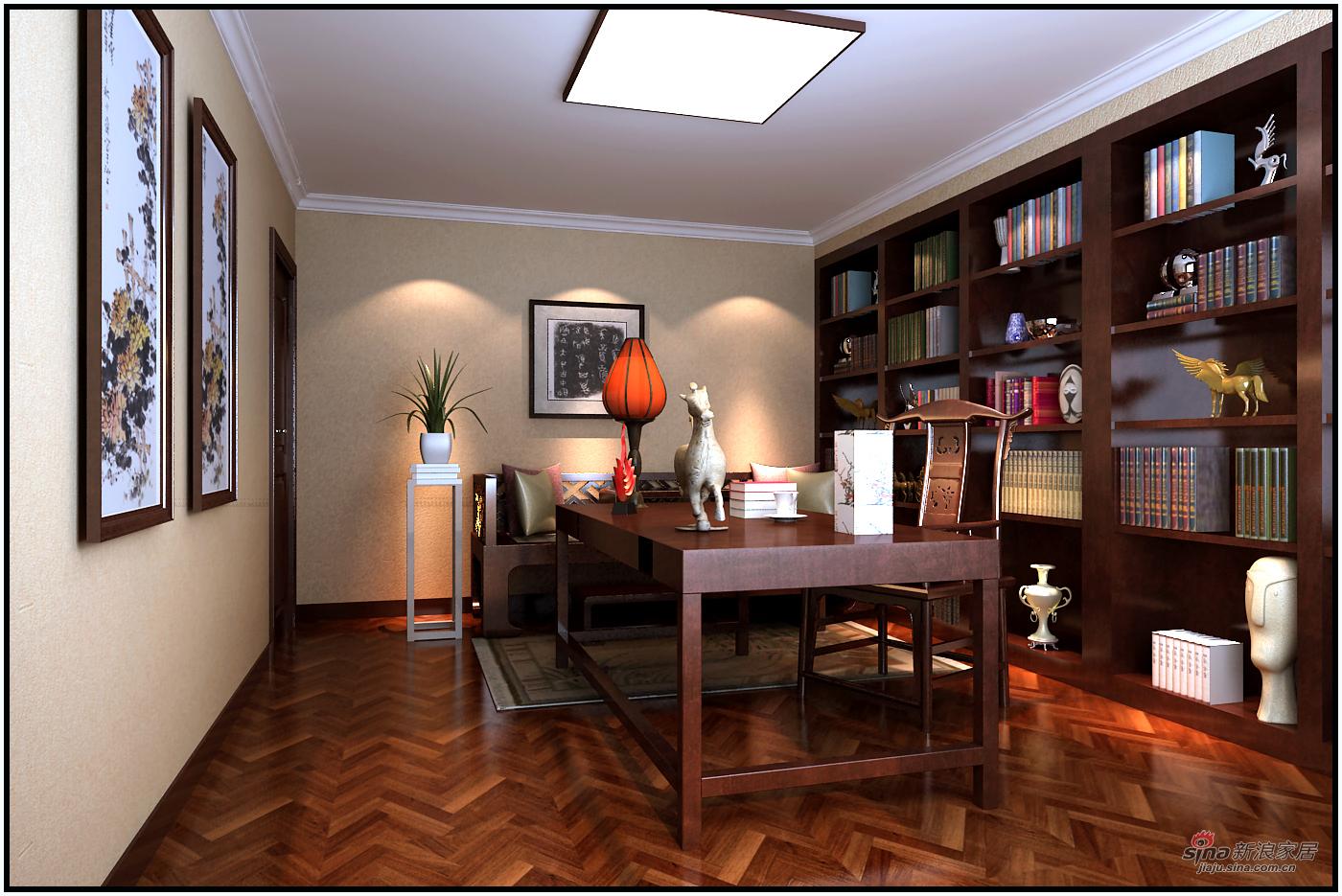 美式 复式 书房图片来自用户1907686233在【高清】180平米奢华欧美风41的分享