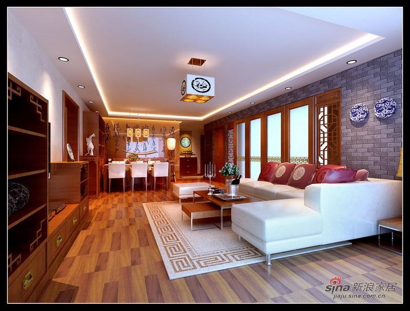 中式 三居 客厅图片来自用户1907662981在125平静谧淡雅时尚的新古典主义中式三居91的分享
