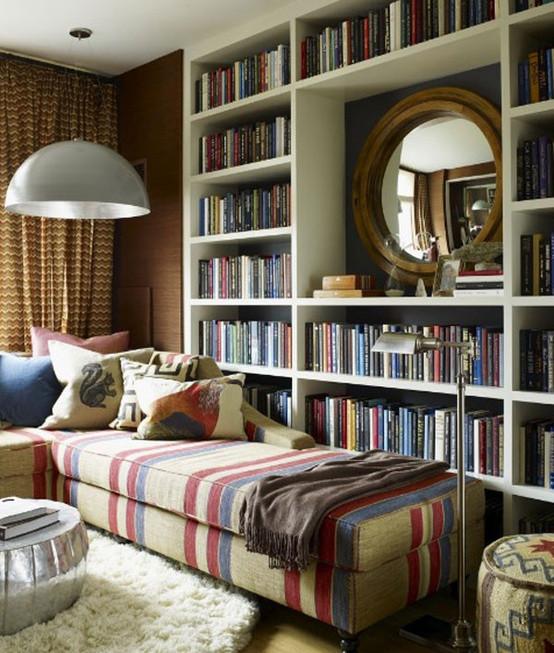 在书房摆上一张小榻,拿着书歪着睡觉是莫大的享受呐 ~