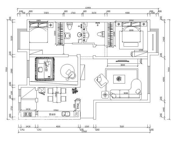 简约 三居 户型图图片来自用户2737786973在金泰先锋3居室现代简约73的分享