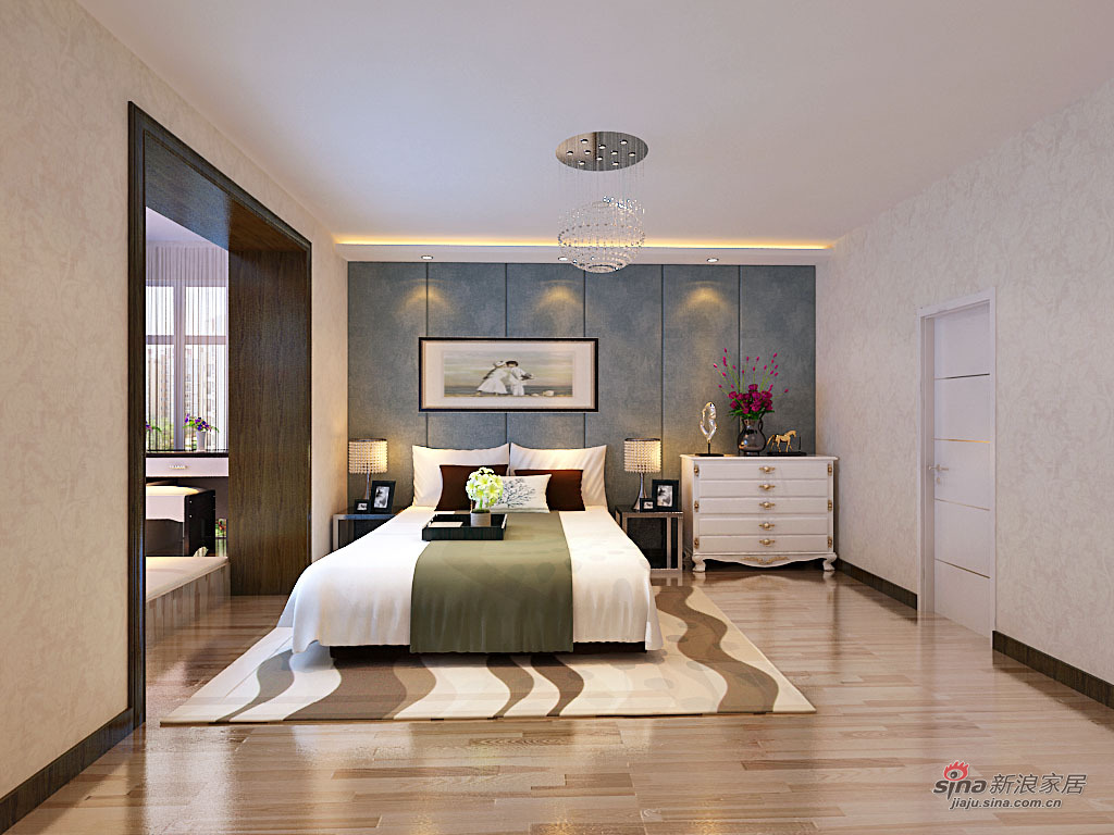 简约 三居 卧室图片来自用户2737950087在电塔家园153平简约装修69的分享