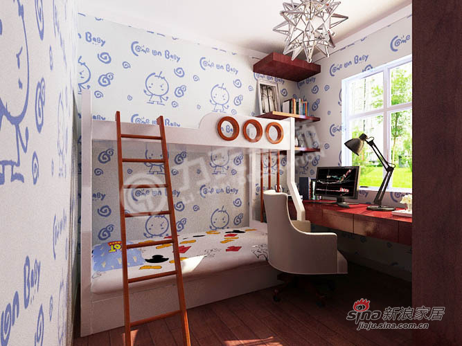 简约 二居 卧室图片来自阳光力天装饰在107平旷世新城简约75的分享
