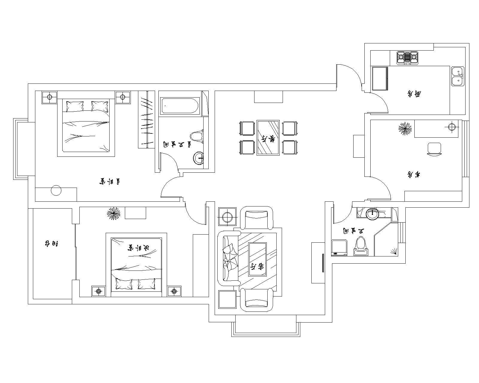 简约 三居 户型图图片来自用户2737735823在游走于黑白之间 纯正简约风格清爽家居方案61的分享