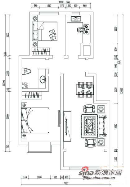 简约 二居 户型图图片来自阳光力天装饰在华城佳苑B户型简约两居84的分享