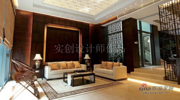 汀湘十里别墅中式风格装修设计-客厅