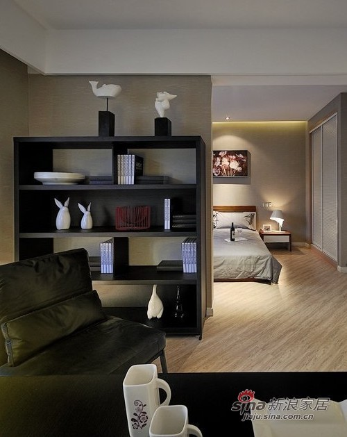 书架后面看到的是卧室的床,嘿嘿,很舒适的