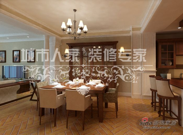 美式 别墅 餐厅图片来自用户1907686233在美式田园别墅案例33的分享
