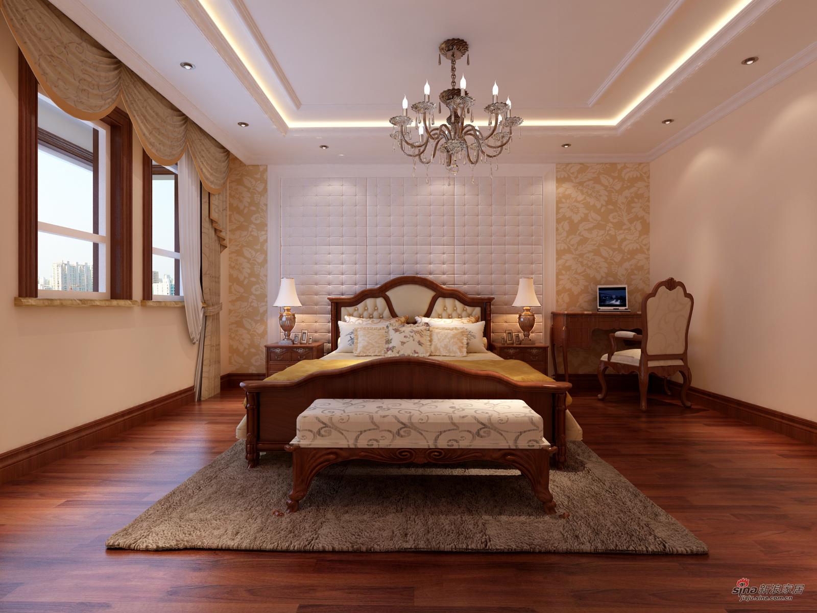 混搭 别墅 卧室图片来自用户1907655435在永定河孔雀城210平简约欧式设计风格10的分享