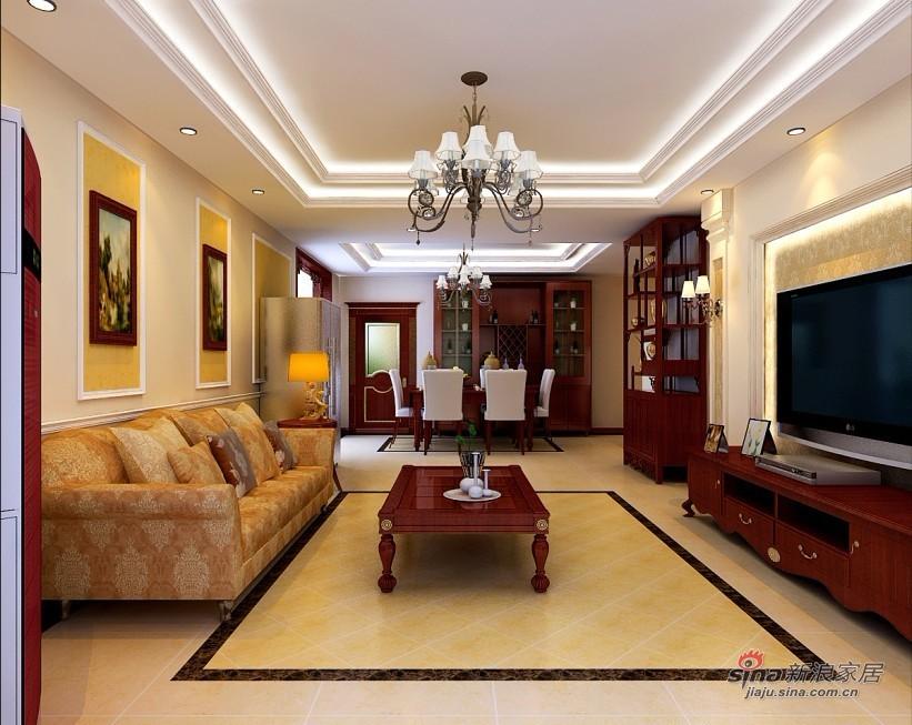 美式 四居 客厅图片来自用户1907686233在170平米美式风格品味家居87的分享