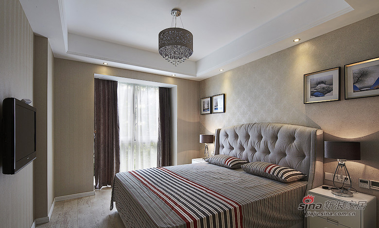 简约 三居 卧室图片来自装修微日记在【高清】8万打造112平时尚简约潮居19的分享