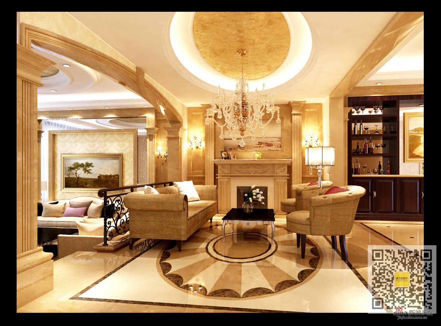 欧式 别墅 客厅图片来自用户2746948411在万通新新家园欧式风格别墅装修设计19的分享