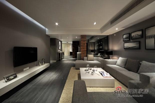 简约 二居 客厅图片来自佰辰生活装饰在80平黑白灰经典时尚小户型23的分享