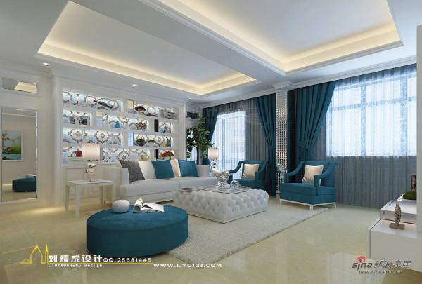 河南蓝湾新城复式楼主简欧风格蓝色调客厅茶