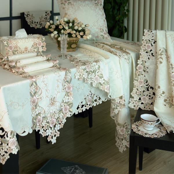 欧式田园桌布 蕾丝镂空布艺 茶几布台布 餐桌布 桌旗