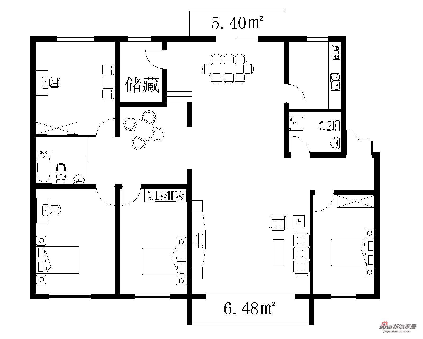 其他 四居 户型图图片来自用户2771736967在10万精装182㎡西式古典四居室71的分享