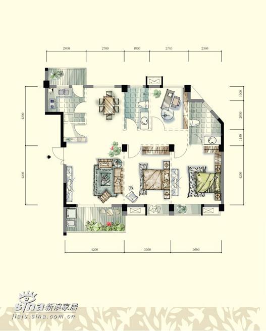 简约 四居 户型图图片来自用户2738829145在朗琴园40的分享