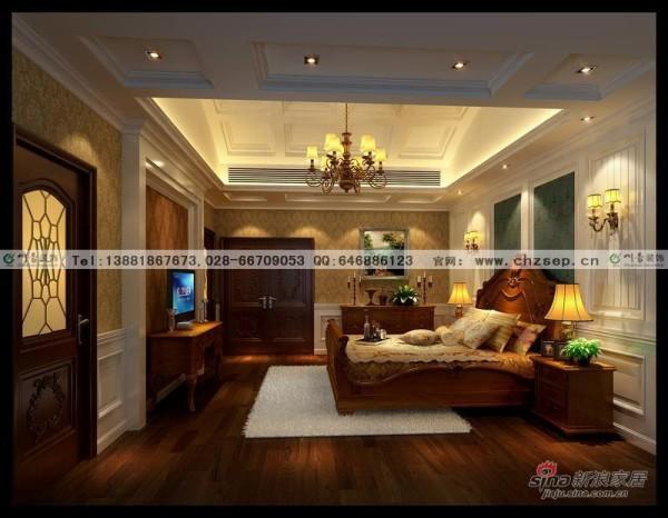 美式风格别墅主卧室效果图