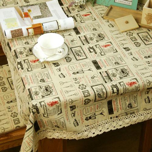 日韩风格 开拓情怀 多尺寸 麻色印花桌布 台布