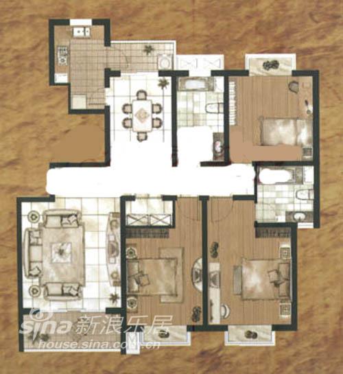 中式 三居 户型图图片来自wulijuan_16在新中式26的分享