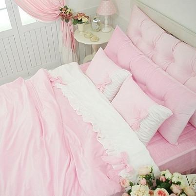 公主粉色婚庆被套四件套