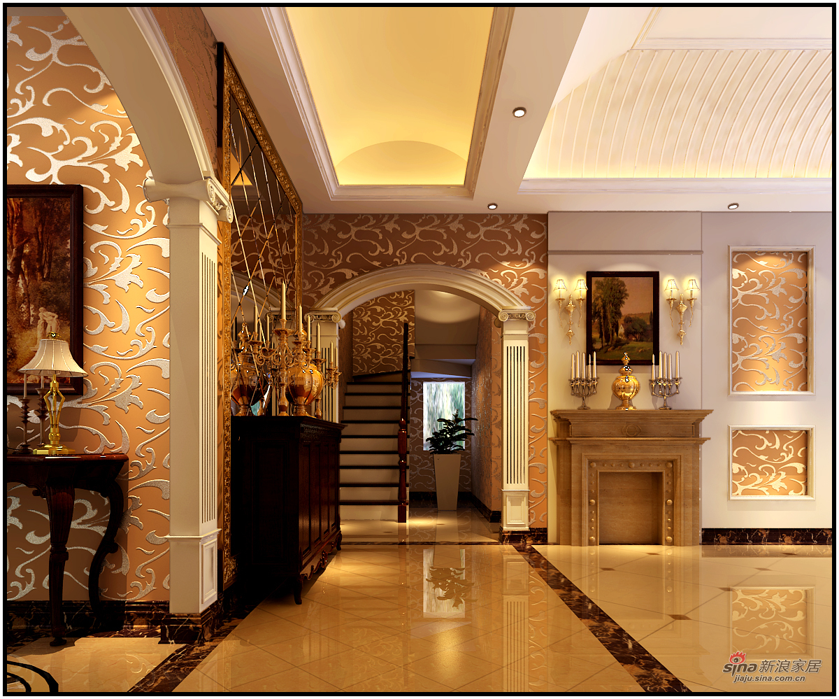 美式 复式 楼梯图片来自用户1907686233在【高清】180平米奢华欧美风41的分享