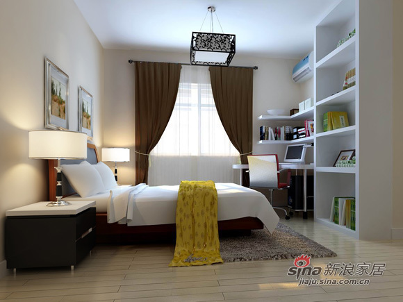 简约 二居 卧室图片来自用户2738093703在5.6万打造80平米现代简约2居室89的分享