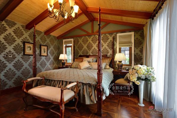 麓山国际美式风格装修主卧室实景图