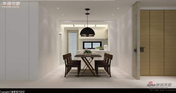 藉由线条的变化丰富净白墙面空间