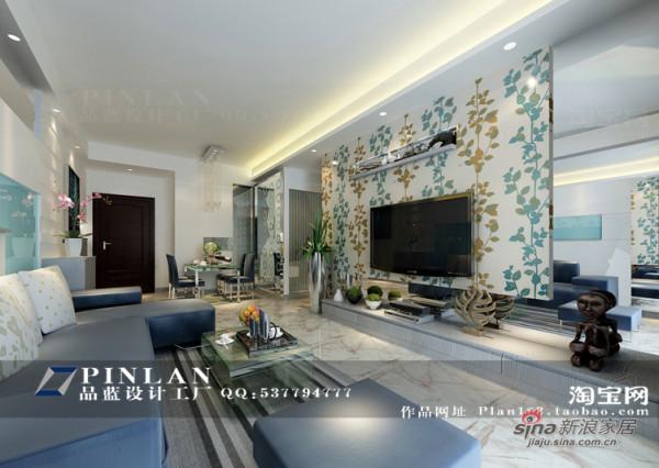 天蓝色客厅设计,客厅电视背景墙设计,银镜