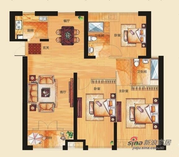 武汉实创装饰打造绿地新都会三居室