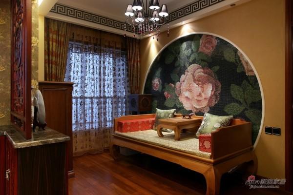 墙面色彩艳丽的牡丹花马赛克