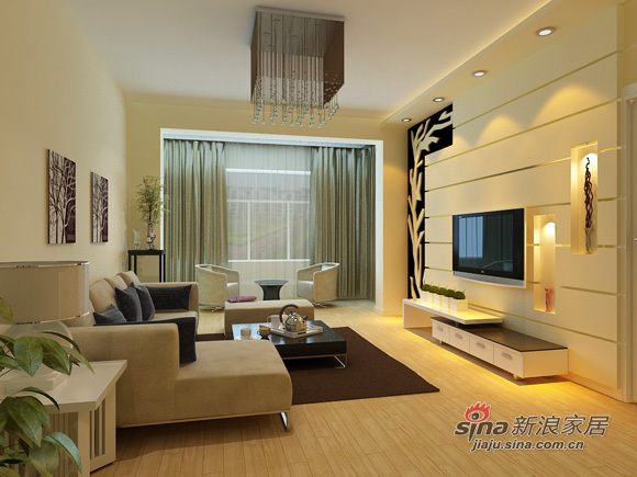 简约 二居 客厅图片来自用户2745807237在5万精装80平米两居大方简约87的分享