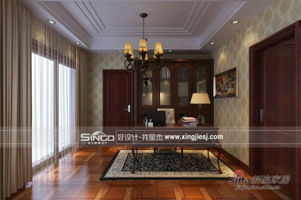 欧式 别墅 书房图片来自用户2746889121在700平米大空间的欧式别墅装修94的分享