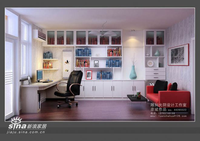 简约 三居 书房图片来自用户2557979841在136平米精装修82的分享