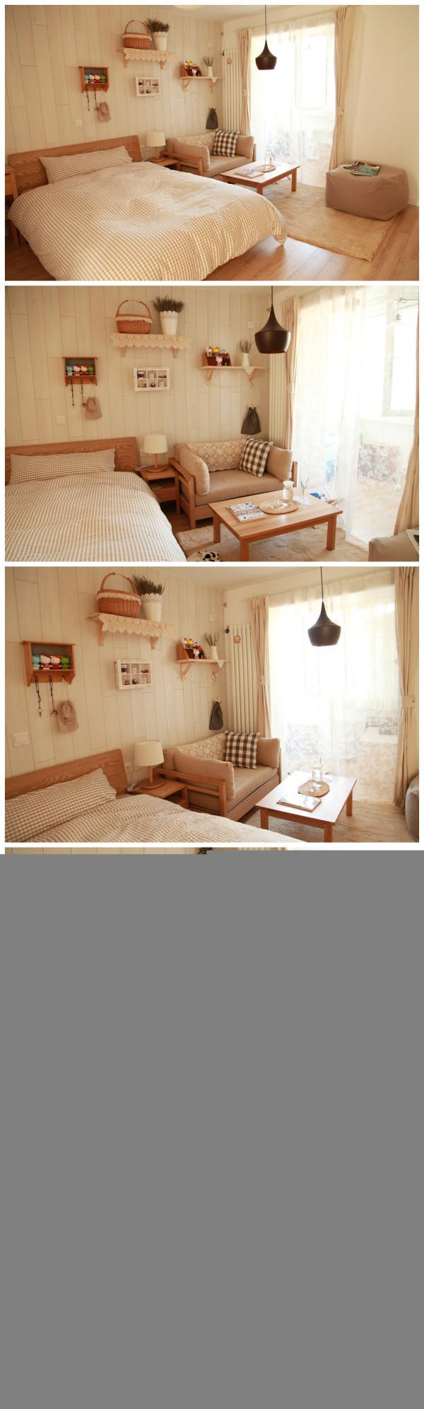 空间小可以把卧室跟客厅布局在一起,会取到不错的效果~