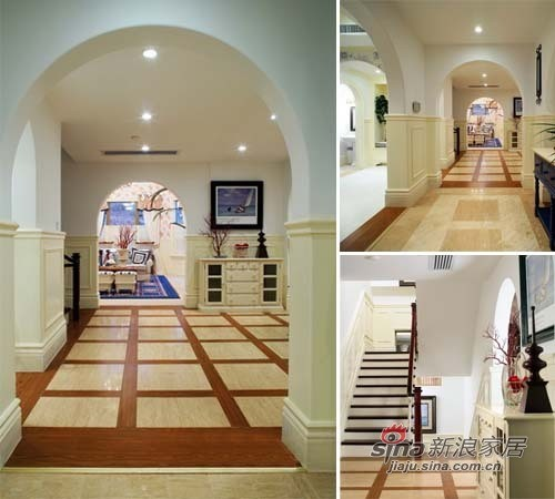 从玄关和楼梯入口处看客厅